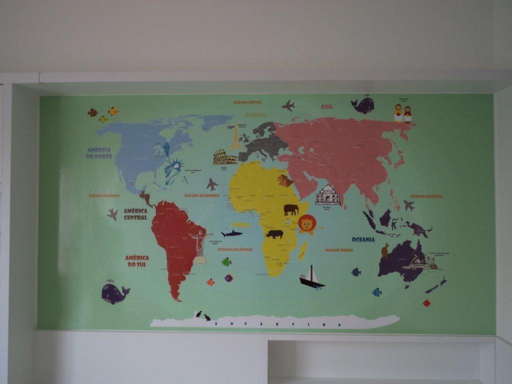 Adesivo parede mapa mundi infantil