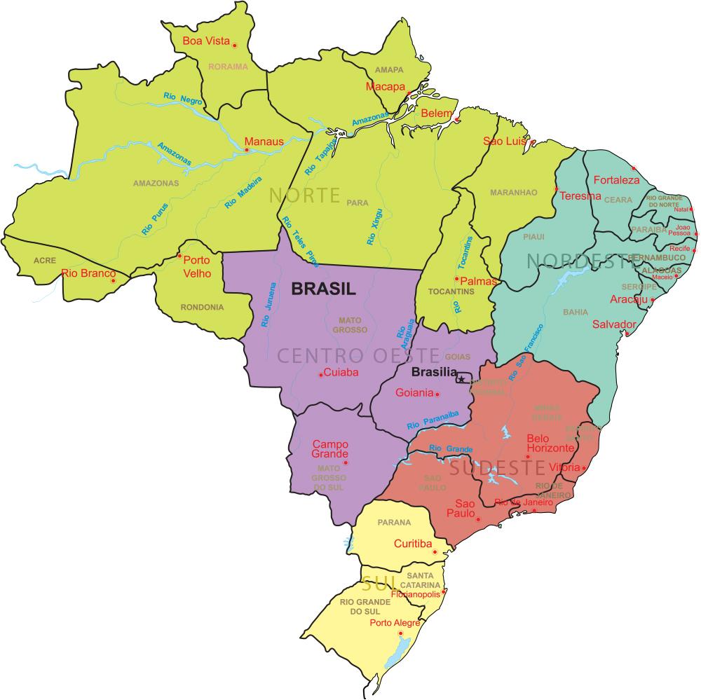 mapa brasil regiões