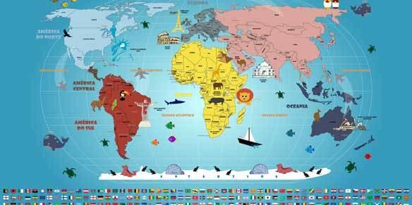 Mapa Mundi infantil com bandeiras fica mais completo.
