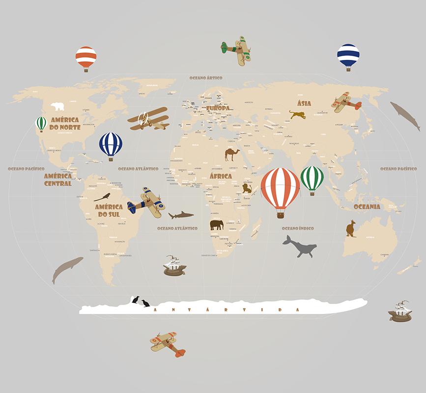 Mapa Mundi Decorativo18-D3-A