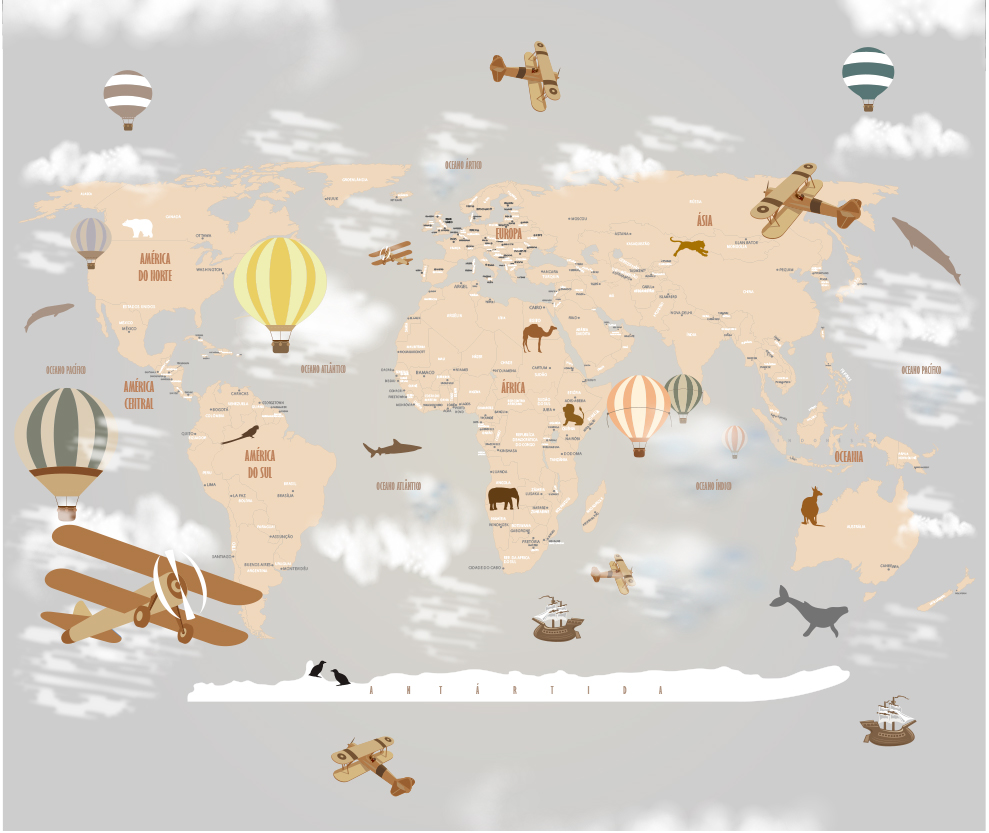 Mapa Mundi Decorativo18-D3-C