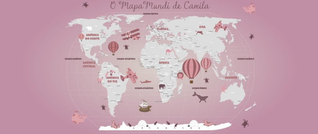 Papel de Parede Mapa Mundi 18-DR4 Cor Rosa
