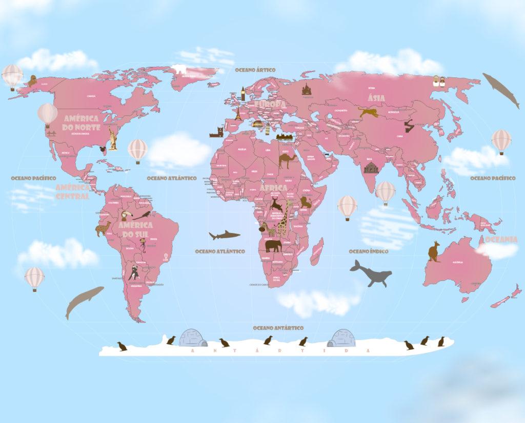 Papel de Parede Mapa Mundi Rosa 18-DR7