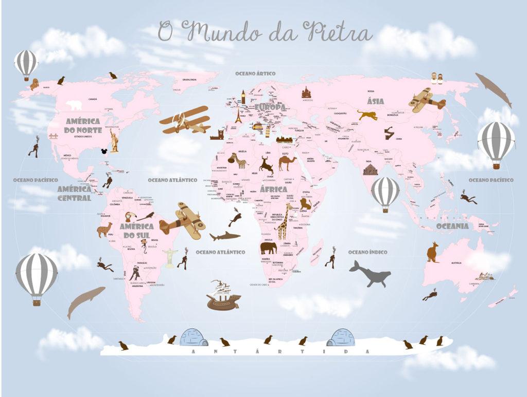 Papel de Parede Mapa Mundi Tons de Rosa Modelo 18-D5-1