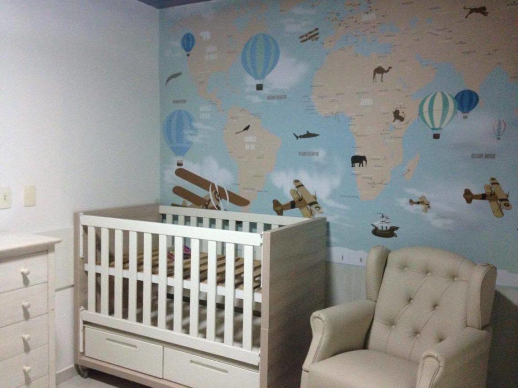mapa mundi infantil em papel de parede
