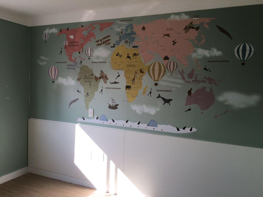 papel de parede infantil 18-D5 em quarto de crianca