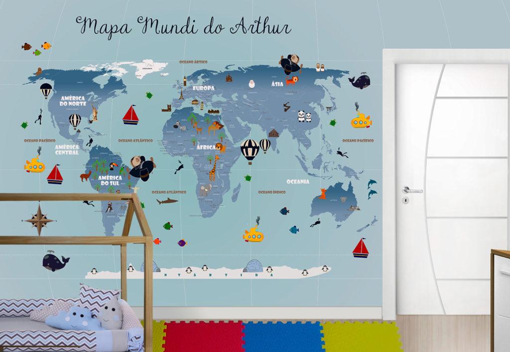 papel de parede mapa mundi infantil 18-G aplicação