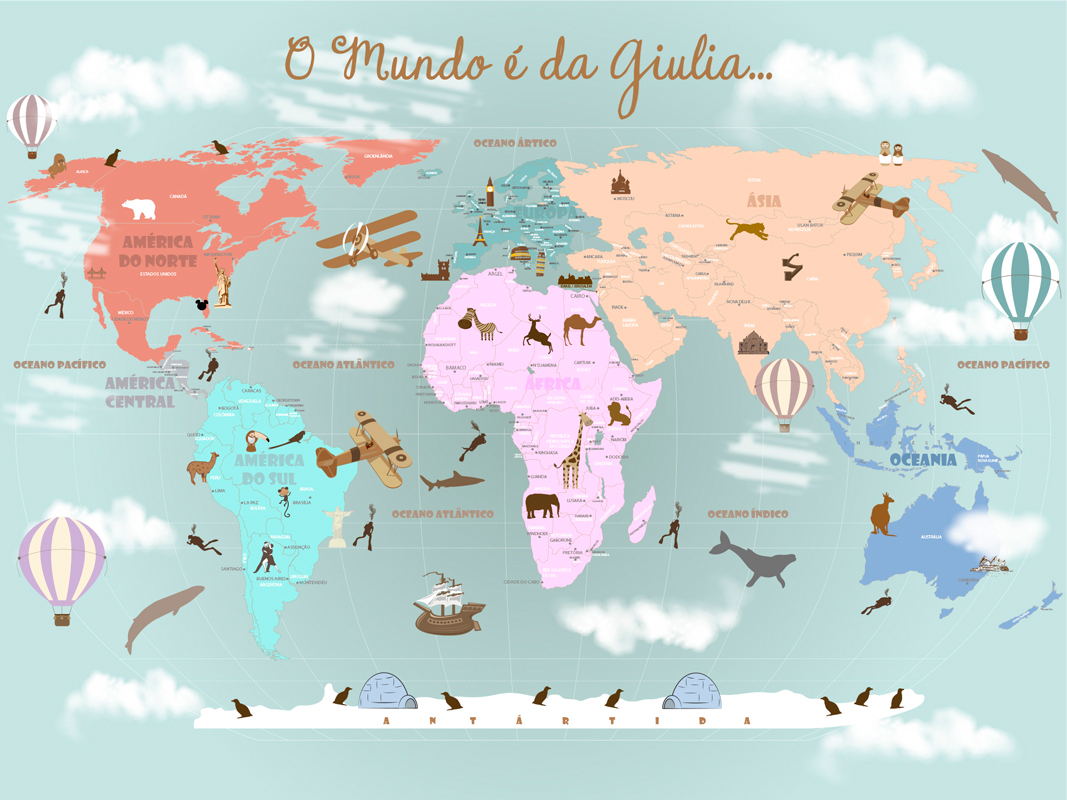 papel de parede mapa mundi infantil rosa