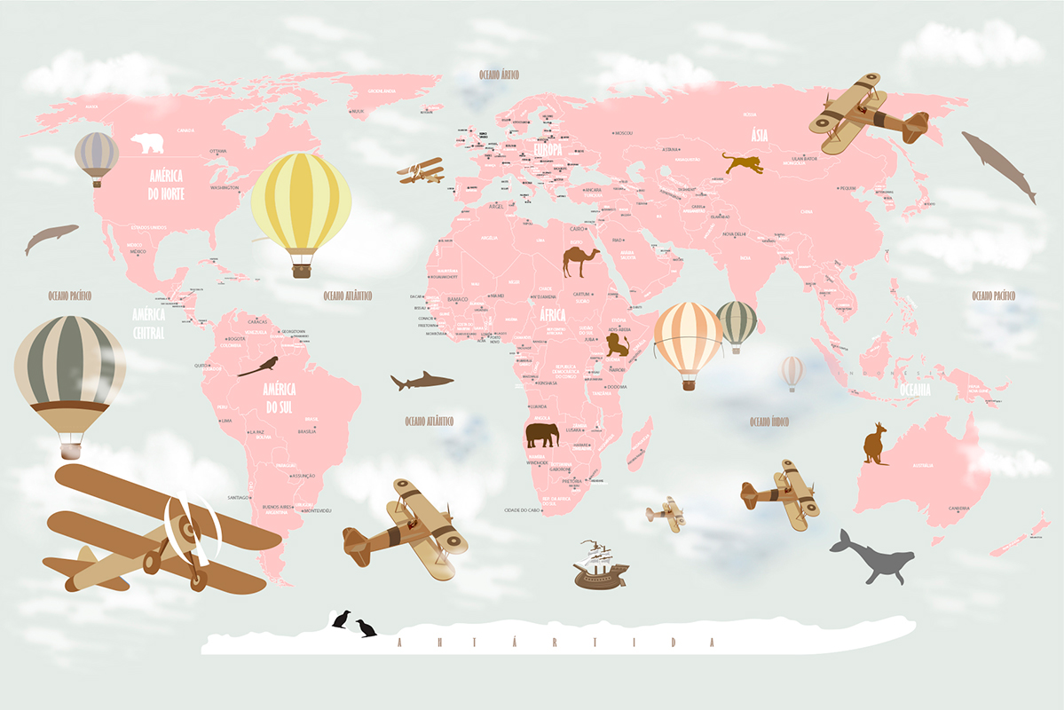 papel de parede mapa mundi infantil rosa menina