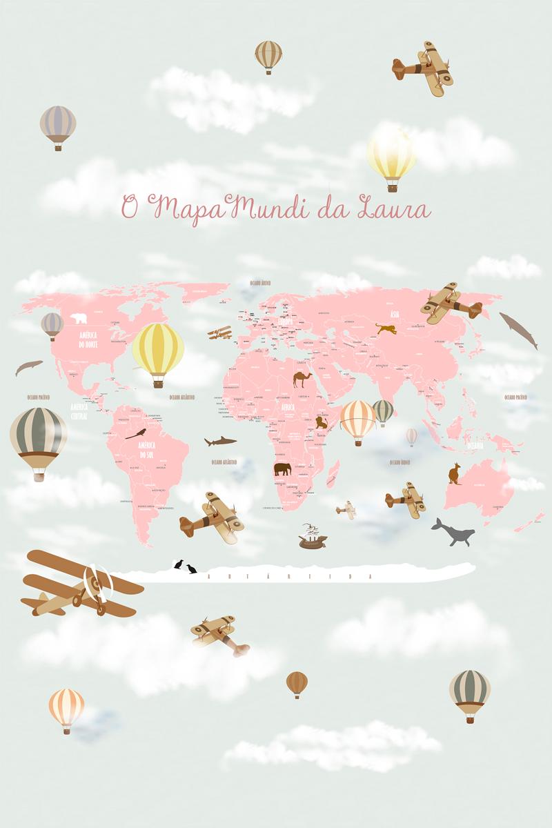 papel de parede mapa mundi infantil rosa
