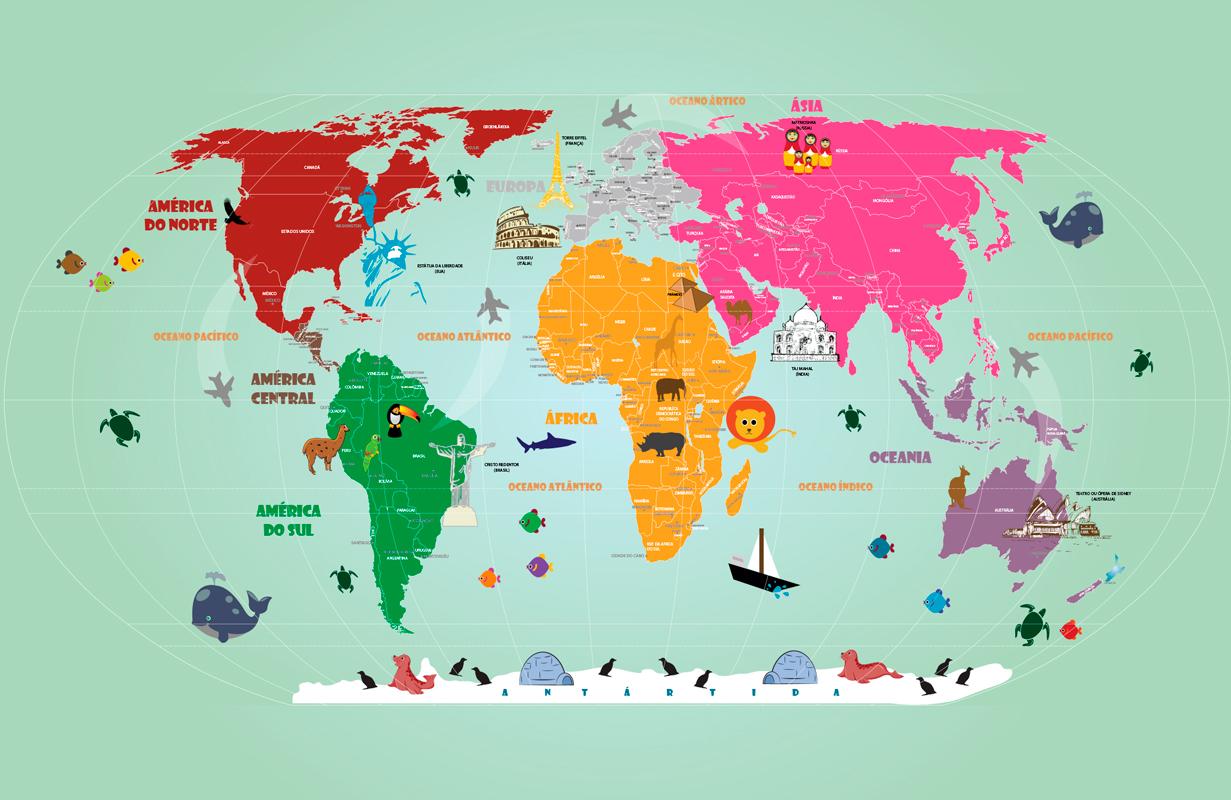 papel de parede mapa mundi rosa e tons coloridos
