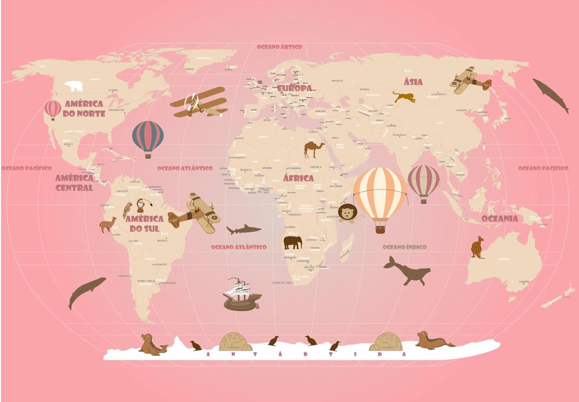 papel de parede mapa mundi rosa