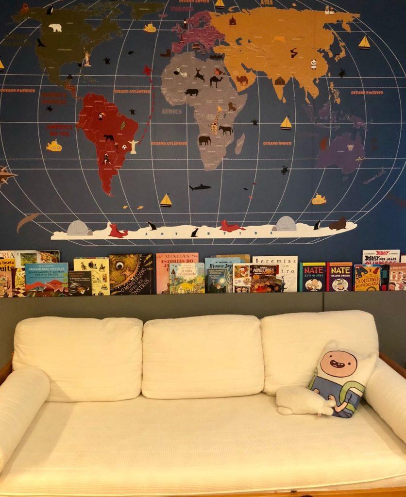 Mapa Mundi na decoracao de um quartinho infantil