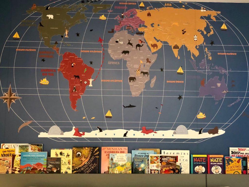 Mapa Mundi na decoracao de um quarto infantil