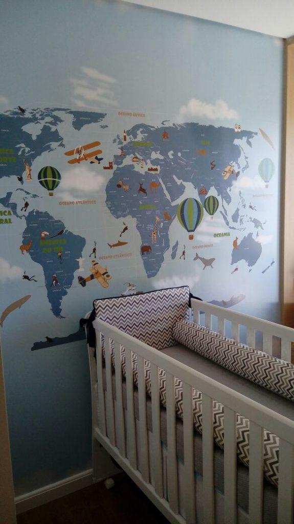 papel de parede mapa mundi quarto infantil modelo 18-D7.