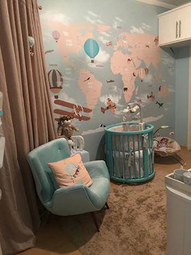 papel de parede mapa mundi quarto infantil modelo 18-D c/ balão na cor tifany
