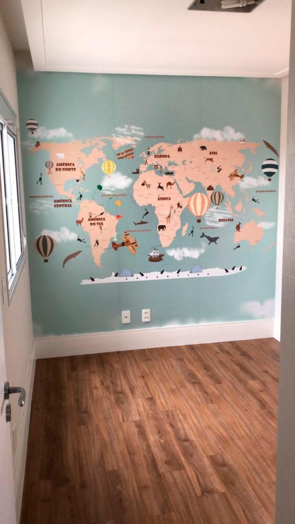 Mapa Mundi decorativo em papel de parede vinílico adesivo