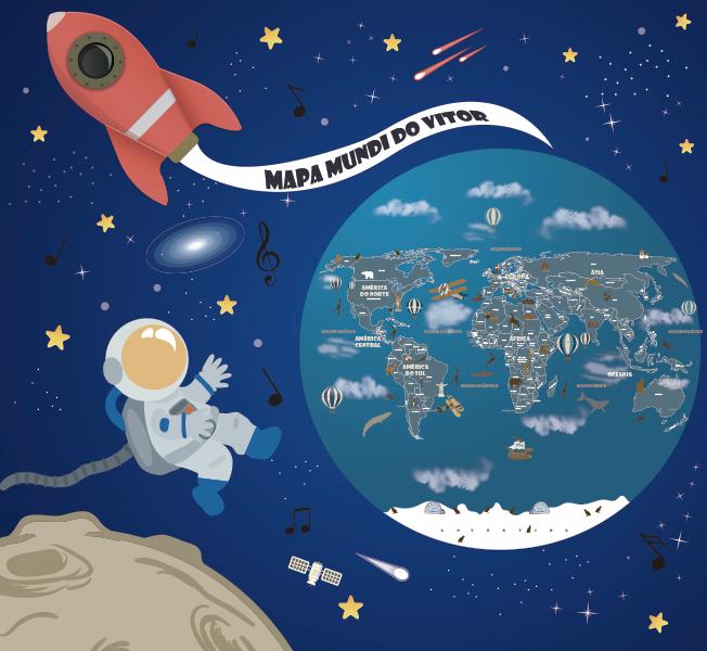 papel de parede com planetas foguete astronauta e mapa mundi
