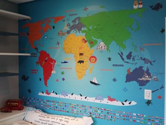 decoração para viajantes com mapa mundi 18-b2