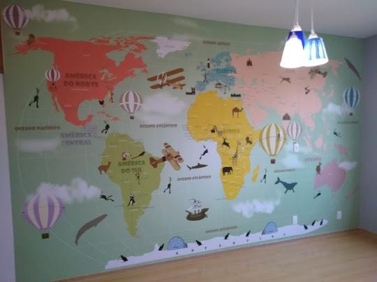 decoração para viajantes com mapa mundi 18-D5