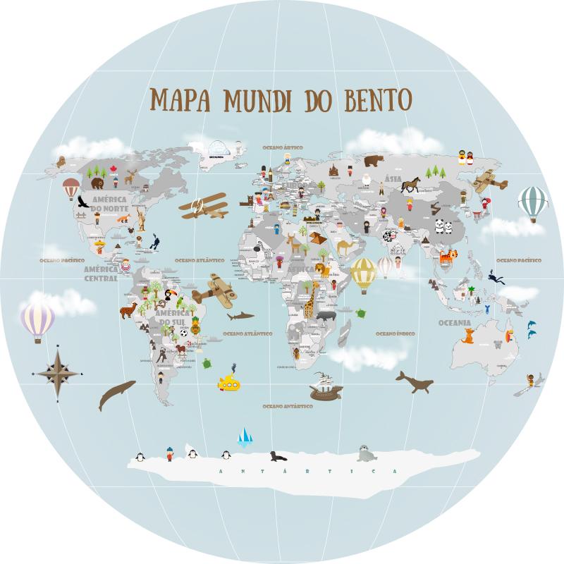 Mapa Mundi Redondo - Modelo 19-A1