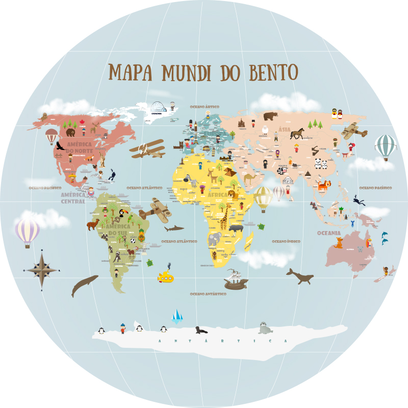 Mapa Mundi Redondo - Modelo 19