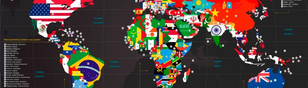 papel de parede mapa mundi com-bandeiras e nome dos países