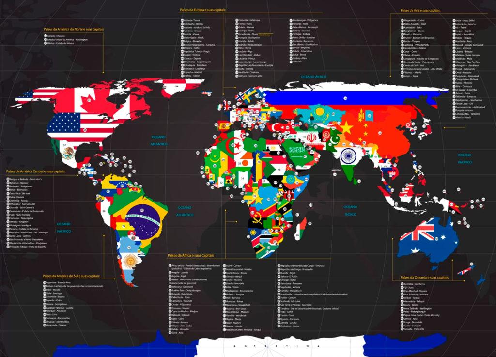 papel de parede mapa mundi com bandeiras e nome dos países