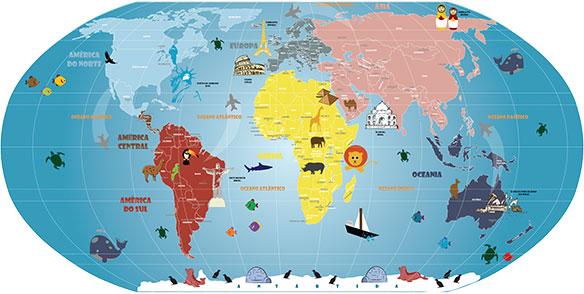 Mapa Mundi Infantil, adesivo artisticamente ilustrado