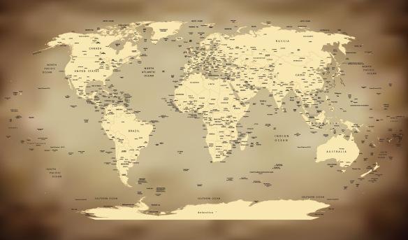 Artesanato Garrafa Pet Para O Natal ~ Adesivo Mapa Mundi Antigo