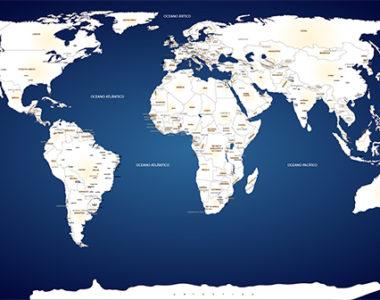 Papel de Parede Mapa Mundi sob medida em adesivo, lindo modelo!