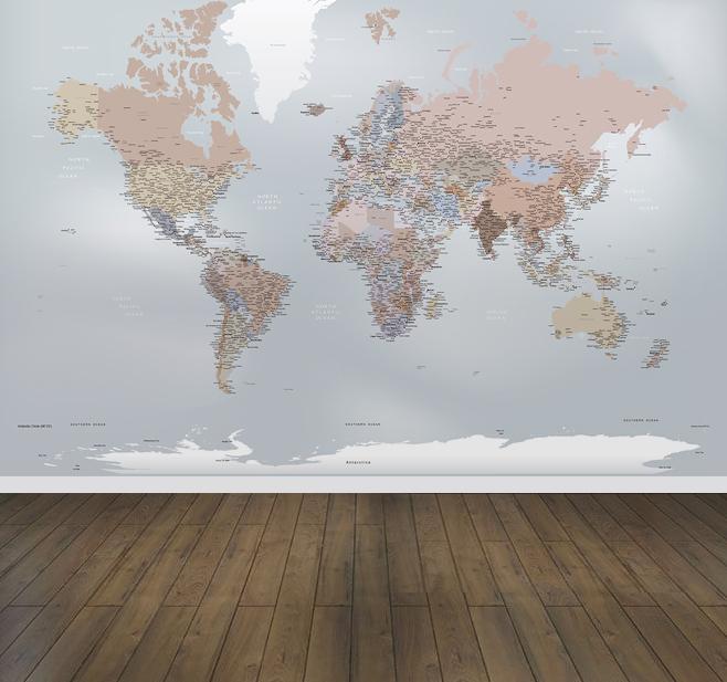 Papel de Parede Mapa Mundi Decoração sob medida - aplicado
