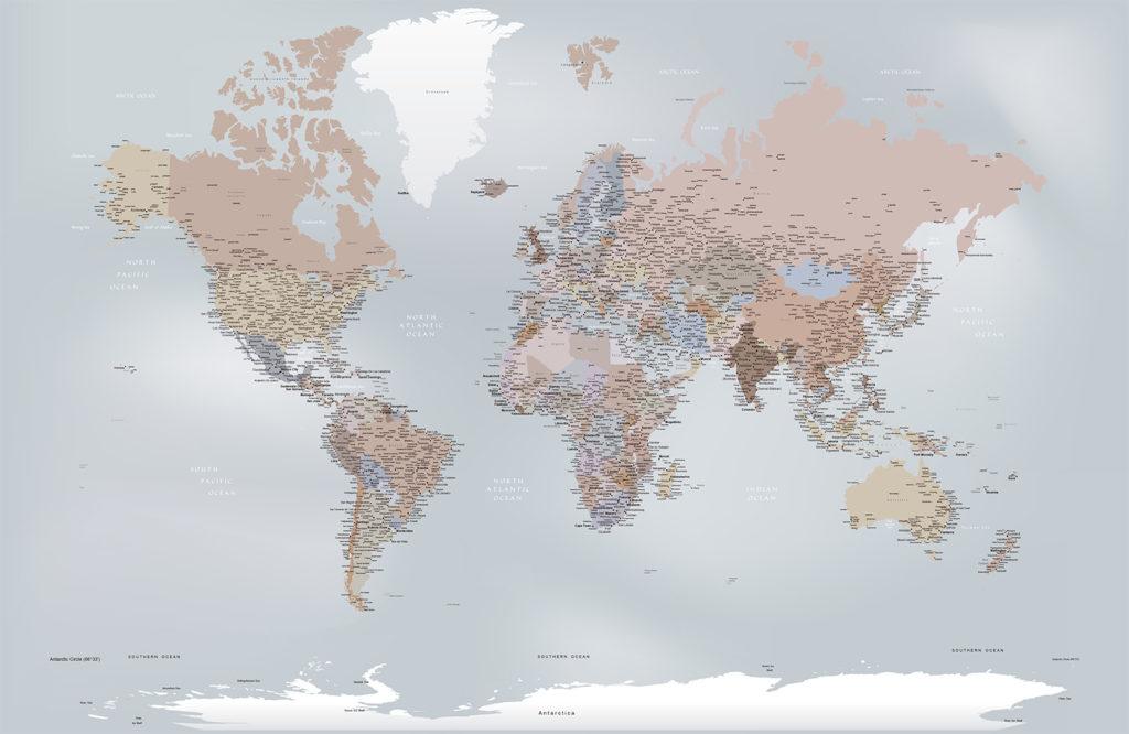 papel de parede mapa mundi decoração sob medida mod. 13-A1