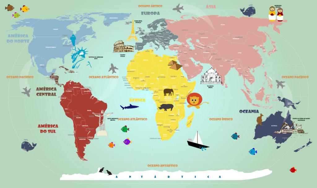 Adesivo Papel de Parede Mapa Mundi Infantil 18-A1