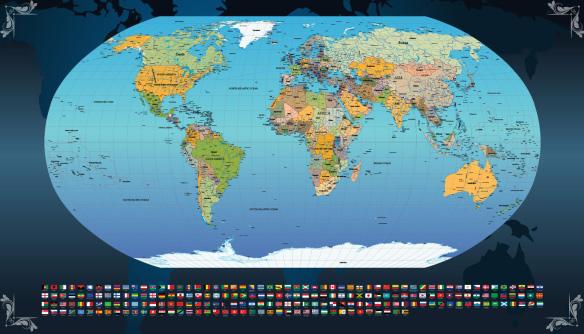 Mapa mundi na parede para decorar o escritorio sala - Papel pared mapa mundi ...