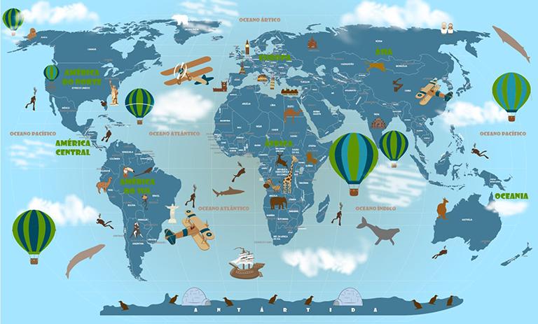 papel de parede mapa mundi 18-D7