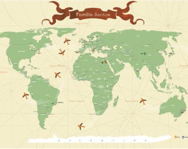 Mapa Mundi para marcar, viagens, lugares visitados com marcadores