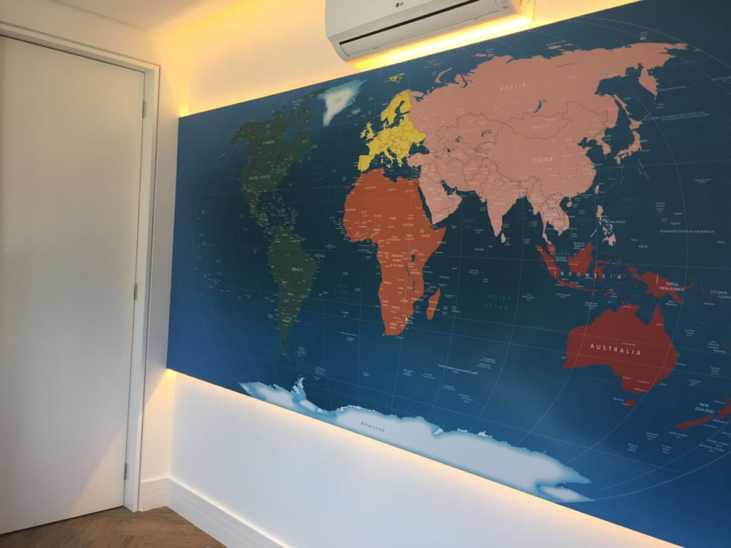 Mapa Mundi Papel de Parede Adesivo