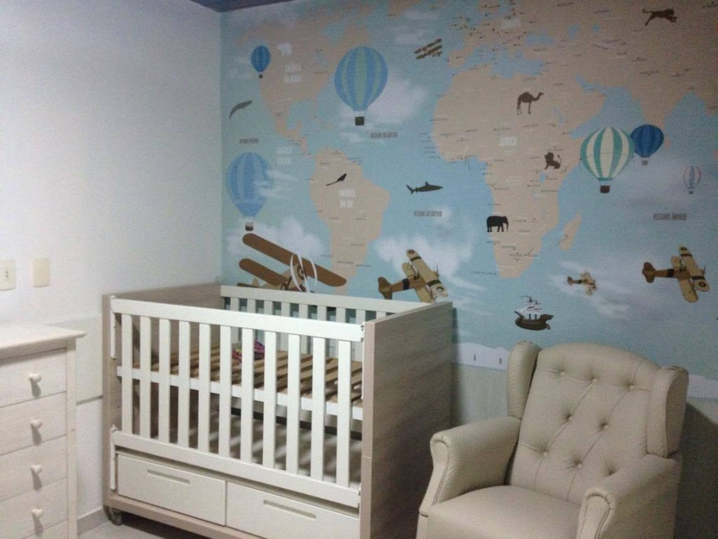 Papel de parede mapa mundi infantil para crian as de for Papel de pared infantil