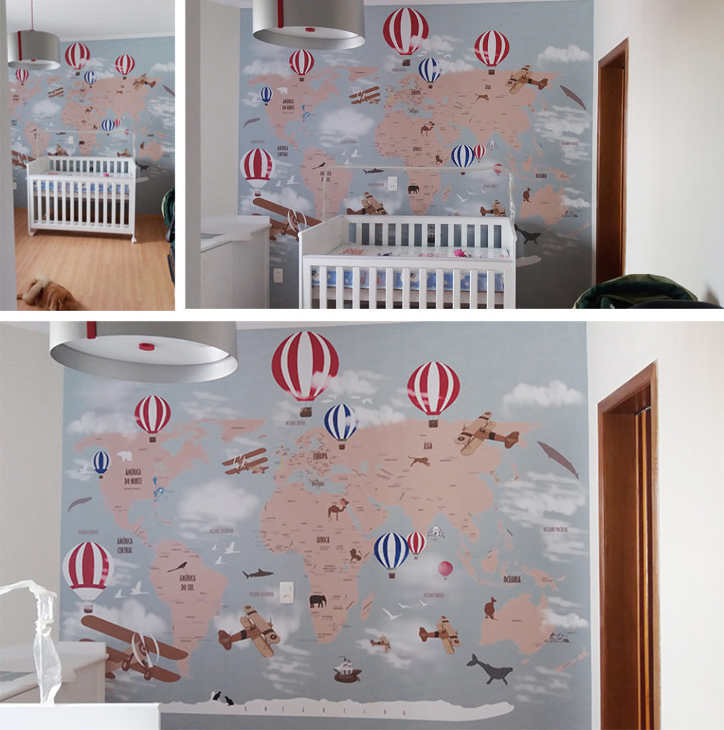 Papel de parede mapa mundi infantil para crian as de - Papel infantil para pared ...