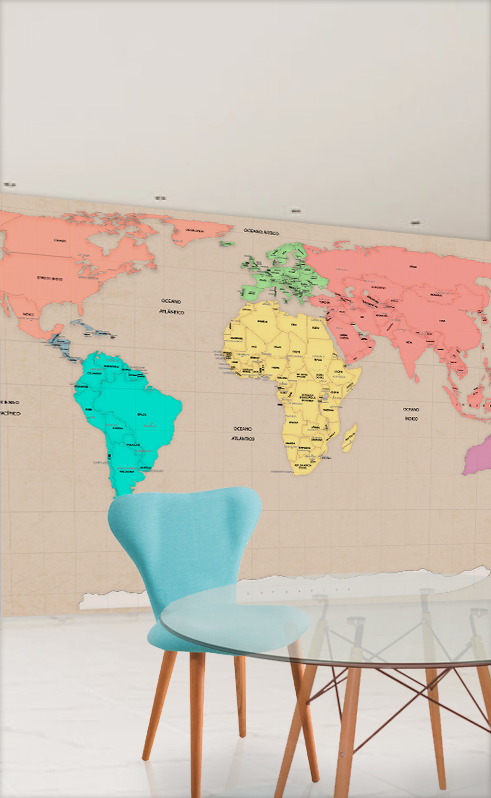 papel de parede mapa mundi vintage tons pasteis aplicado