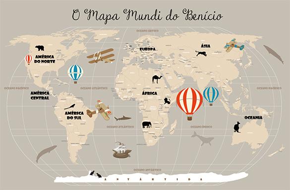Papel de Parede Mapa Mundi Infantil 18-D2