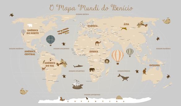 Papel de Parede Mapa Mundi Infantil 18-D4