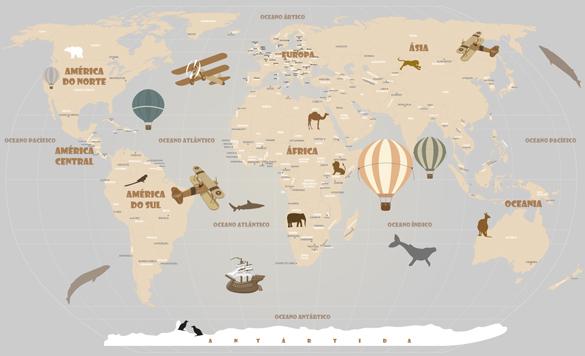 Papel de Parede Mapa Mundi Infantil Modelo 18-D