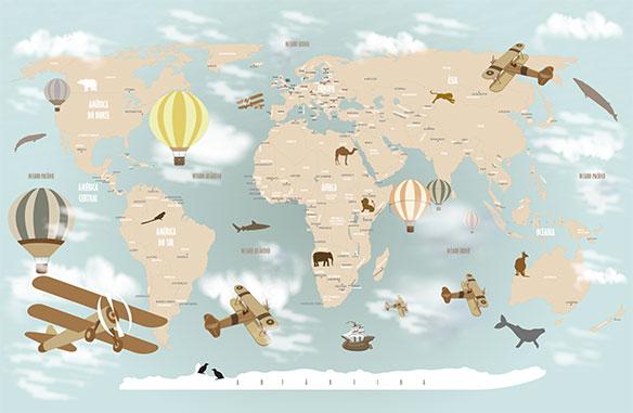 Papel de parede mapa mundi infantil para crian as de - Papel pintado mapa del mundo ...