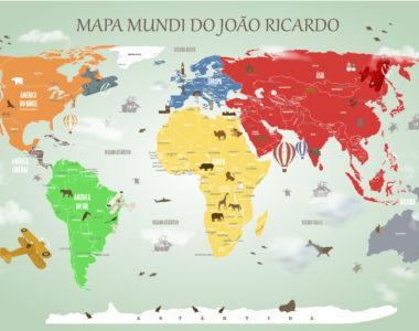 Papel de Parede Mapa Mundi Decorativo. Vários modelos: infantil ou jovem