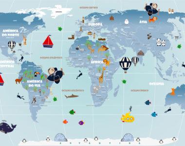 Papel de Parede Mapa Mundi para viagens, estudos e decoração