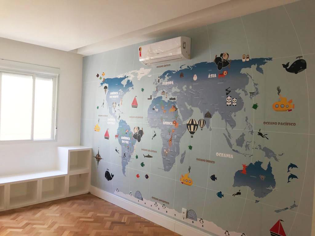 Papel de Parede Mapa Mundi Infantil Modelo 18-G aplicado