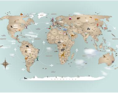 Papel de Parede Mapa Mundi completo, exclusivo para sua decoração.