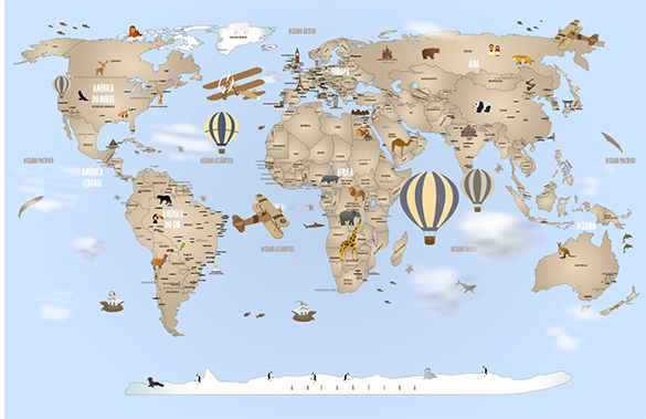 Papel de Parede Mapa Mundi Completo Modelo 18-H3